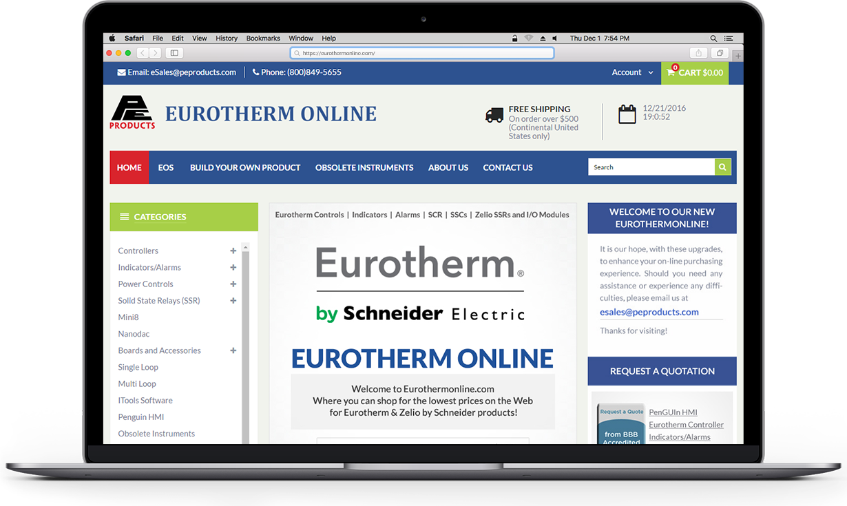 RNF Technologies provided custom web design services to Eurotherm
